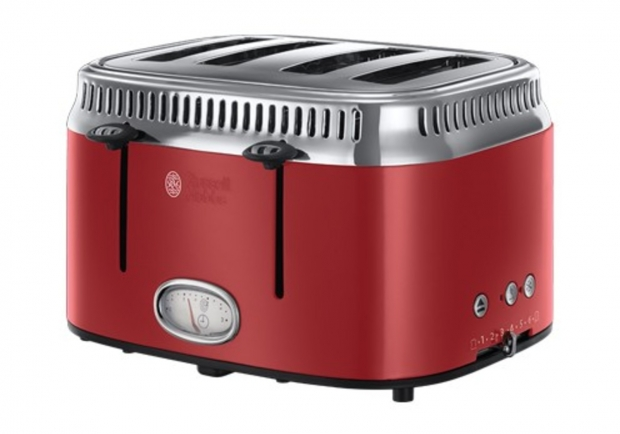 Retro Ribbon Red 4-Schlitz-Toaster von Russell Hobbs 6